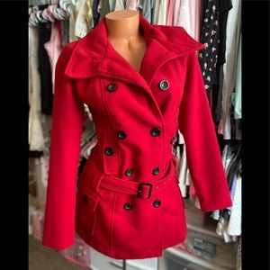 BCX Sexy Red Belted Pea Coat M